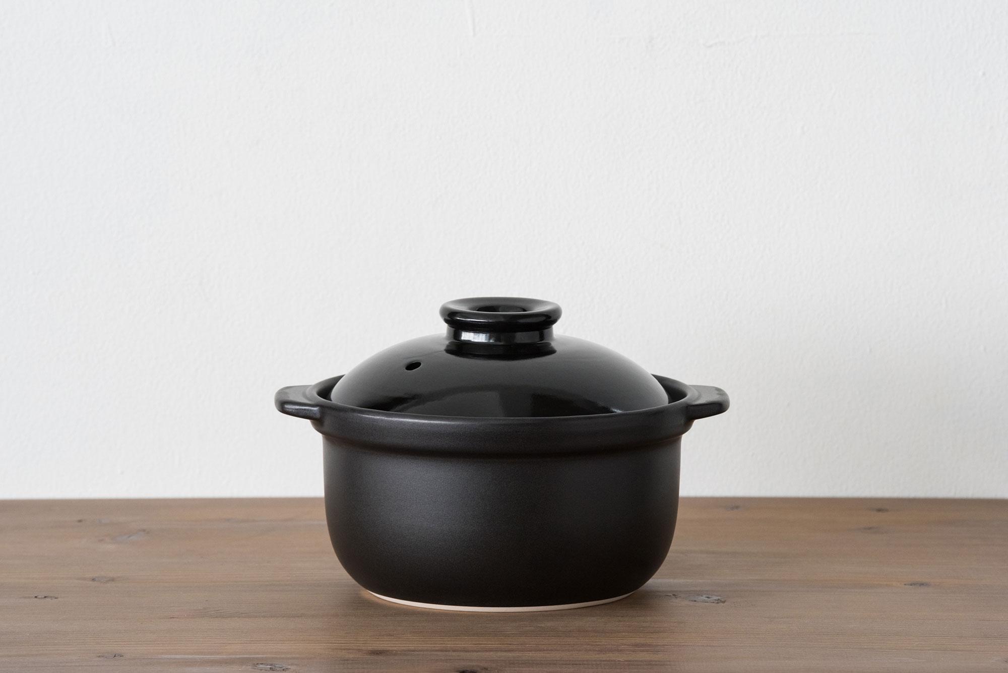 マスタークック 土鍋 3合深鍋 黒(ふた・木栓付)