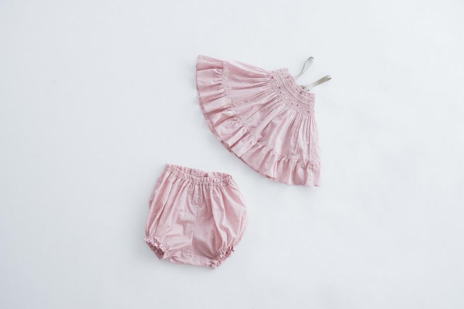 トントンちくちく スモッキングドレス&ブルマー スモーキーピンク