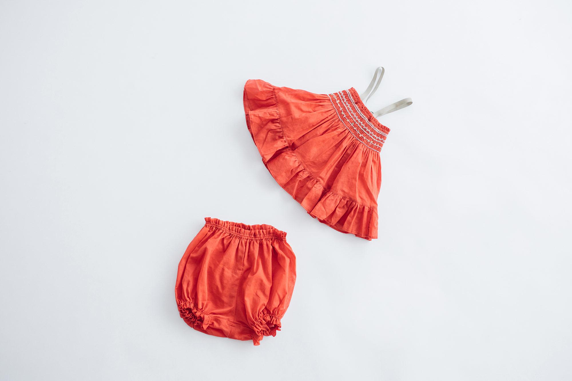 トントンちくちく スモッキングドレス&ブルマー レッド