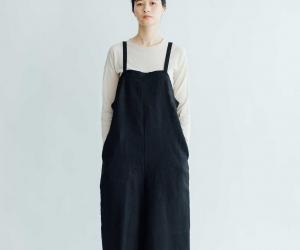 [ご予約受付中]fog linen work エリー サロペット パンツ ブラック