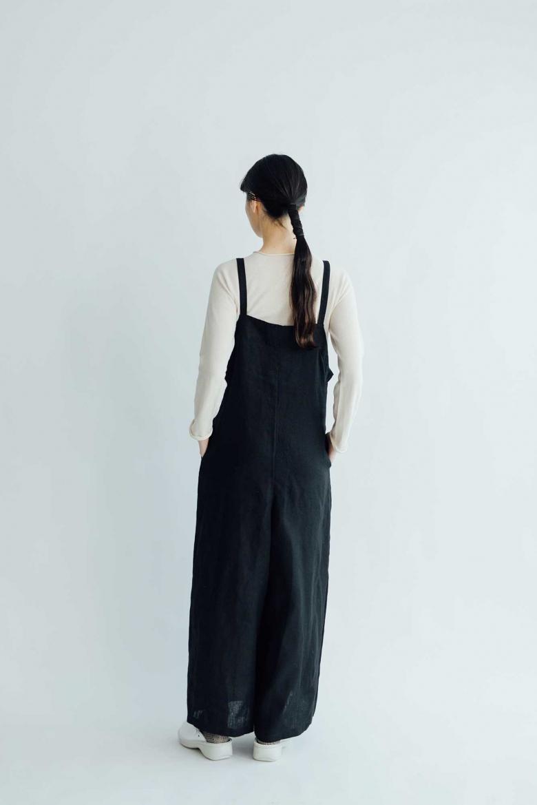 【予約受付中】fog linen work エリー サロペット パンツ ブラック