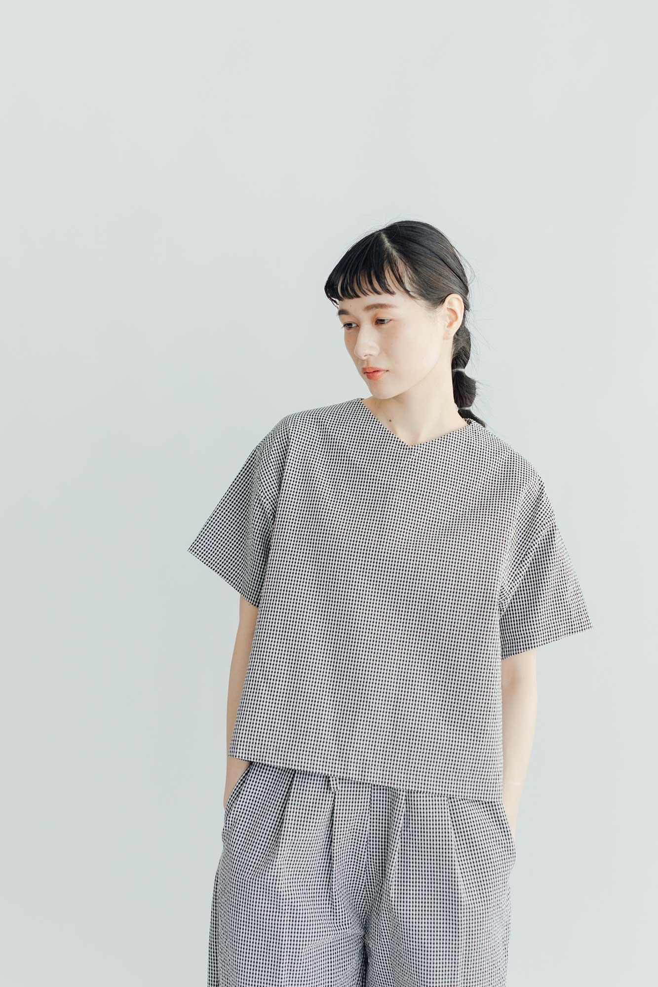 Atelier d'antan Arnaud コットン シャツ ホワイト×ブラックチェック