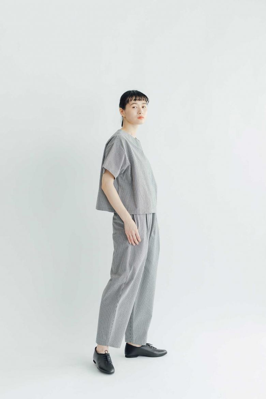 Atelier d'antan Barouh コットン パンツ ホワイト×ブラックチェック