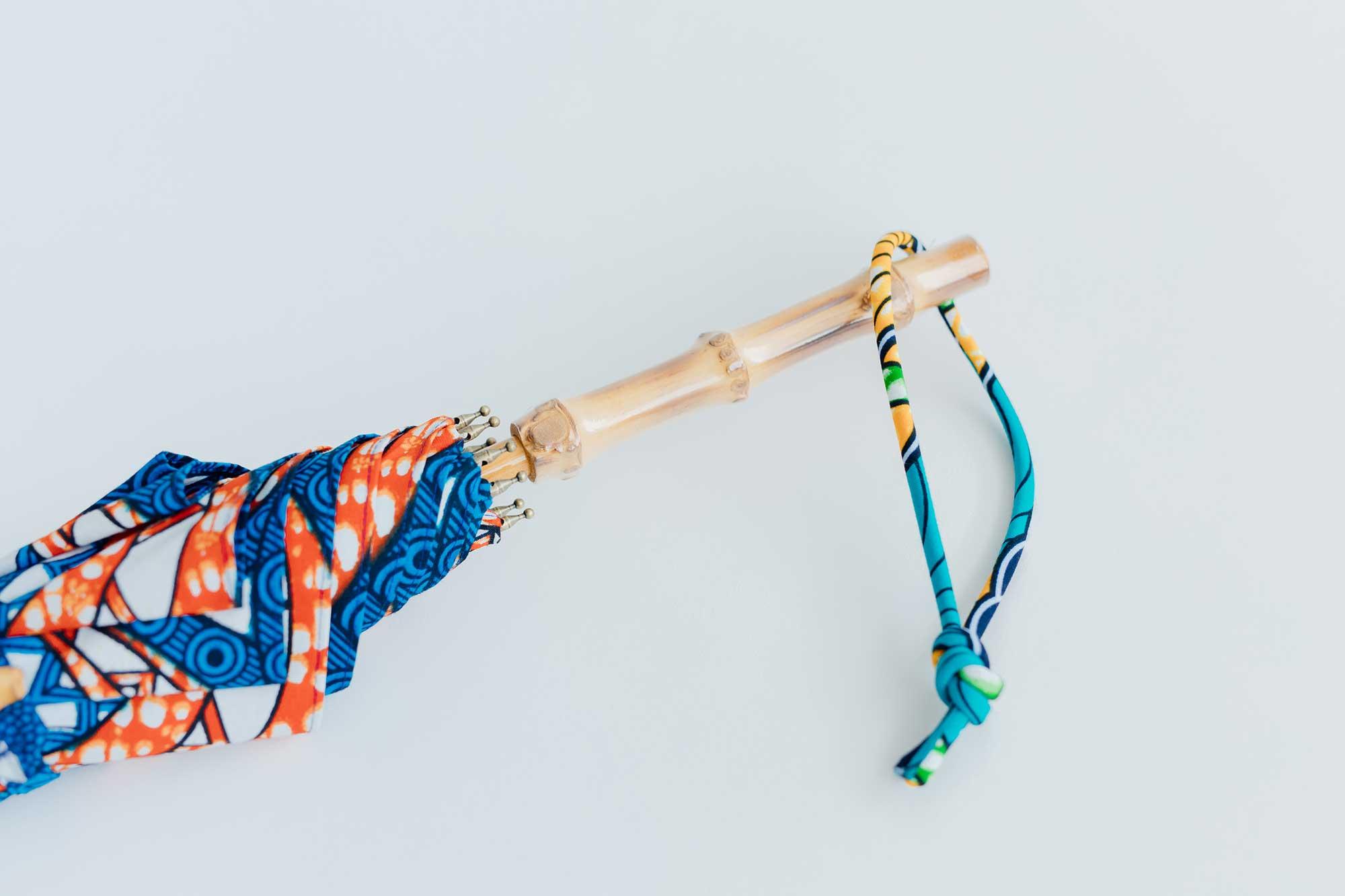BonBonStore アフリカンバティック長傘(日傘)バンブー ブルー×レッド