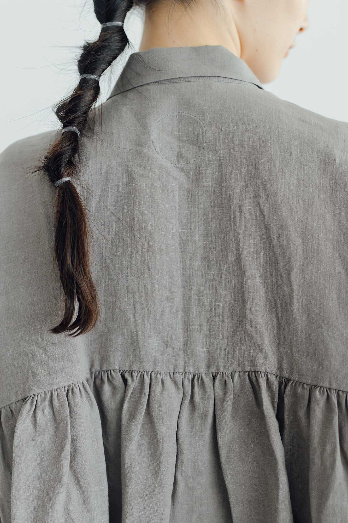 Atelier d'antan Breton リネン シャツ グレー