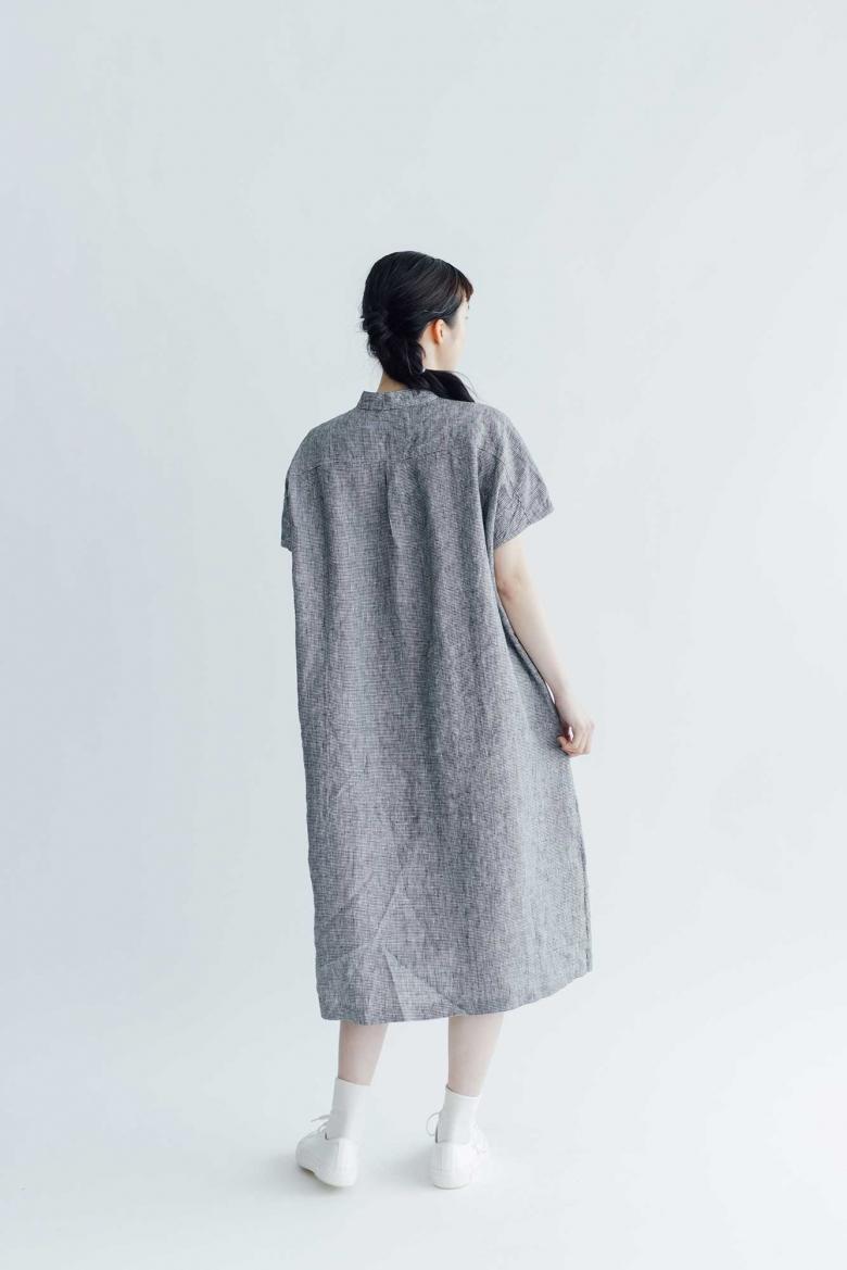 fog linen work エメリナ ワンピース 白黒千鳥格子
