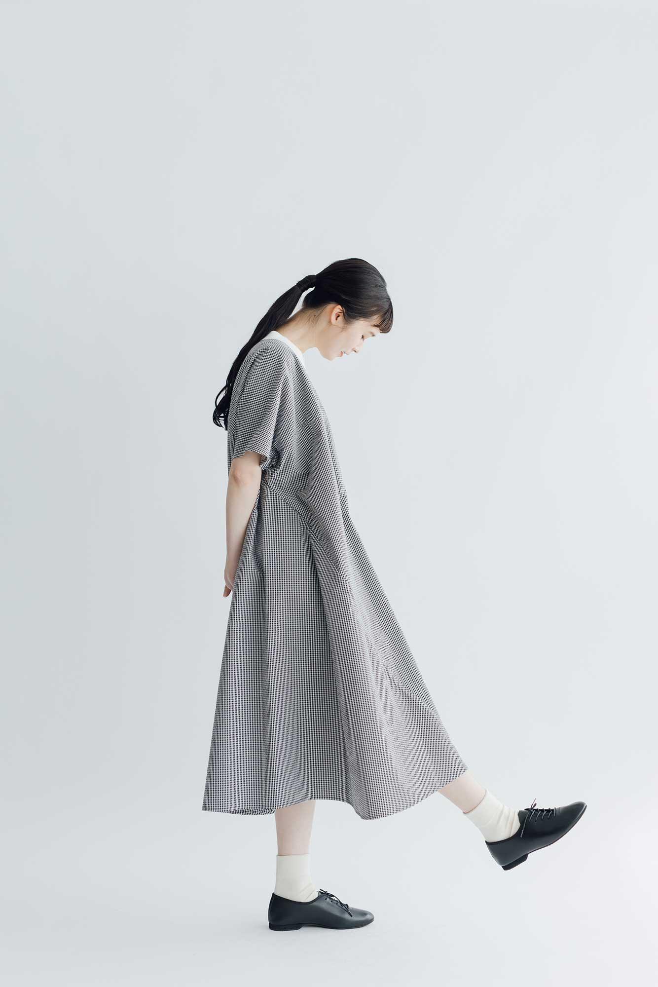 Atelier d'antan Taafee コットン ワンピース ホワイト×ブラックチェック