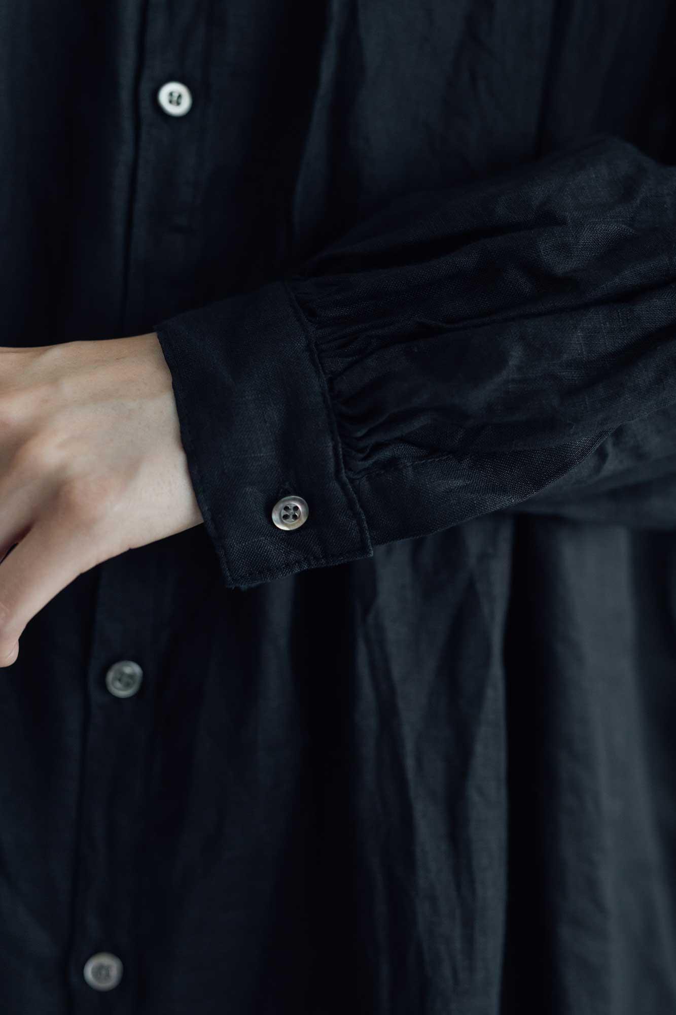 UNIVERSAL TISSU フレンチリネン シャツドレス クロ