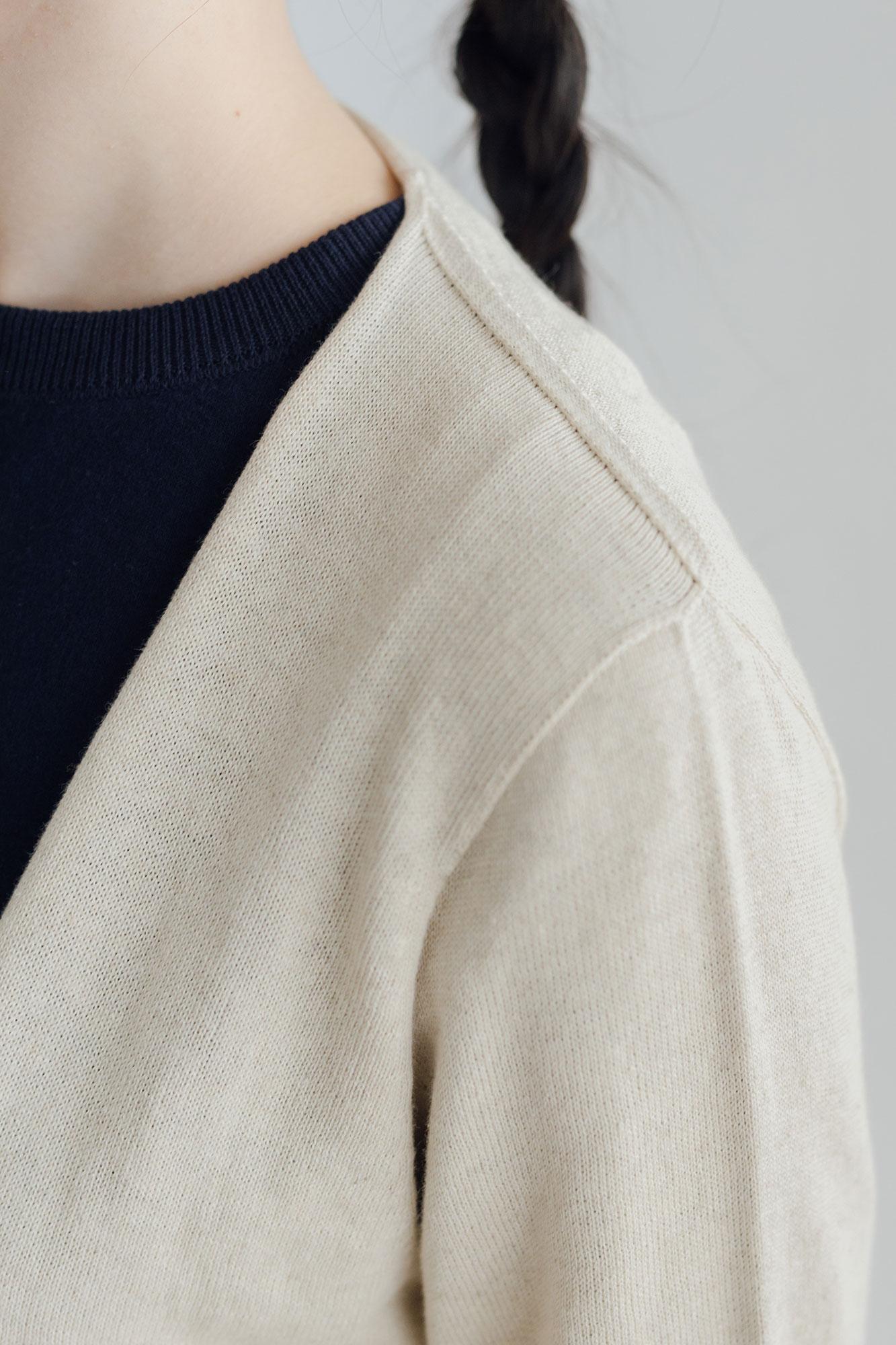 F/style ホールガーメントの綿麻ニット カーディガン・長袖 / ユニセックス