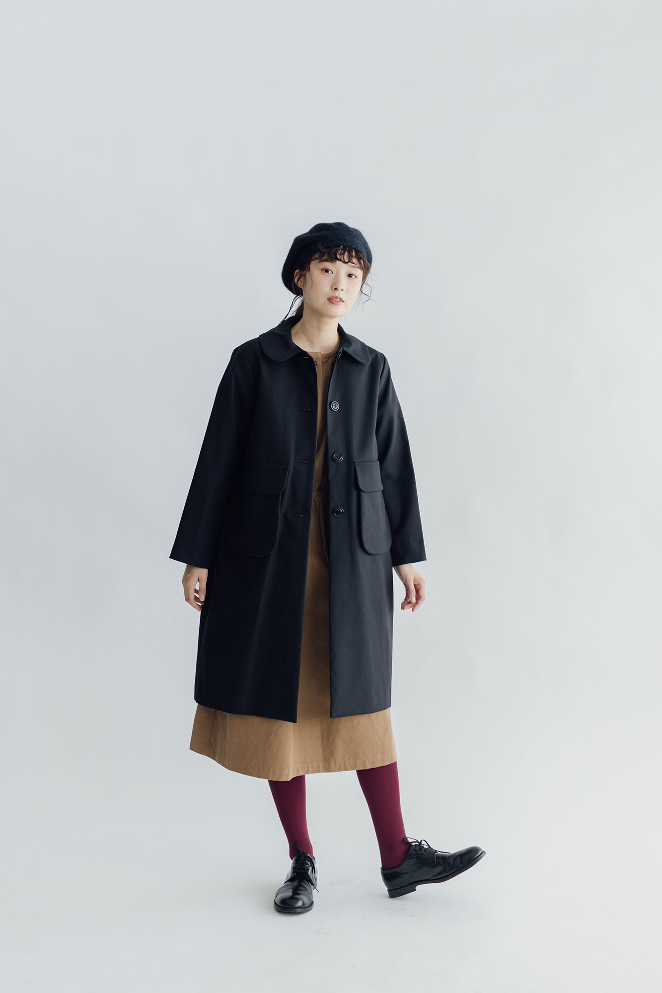 Atelier d'antan Carra コットン コート ブラック