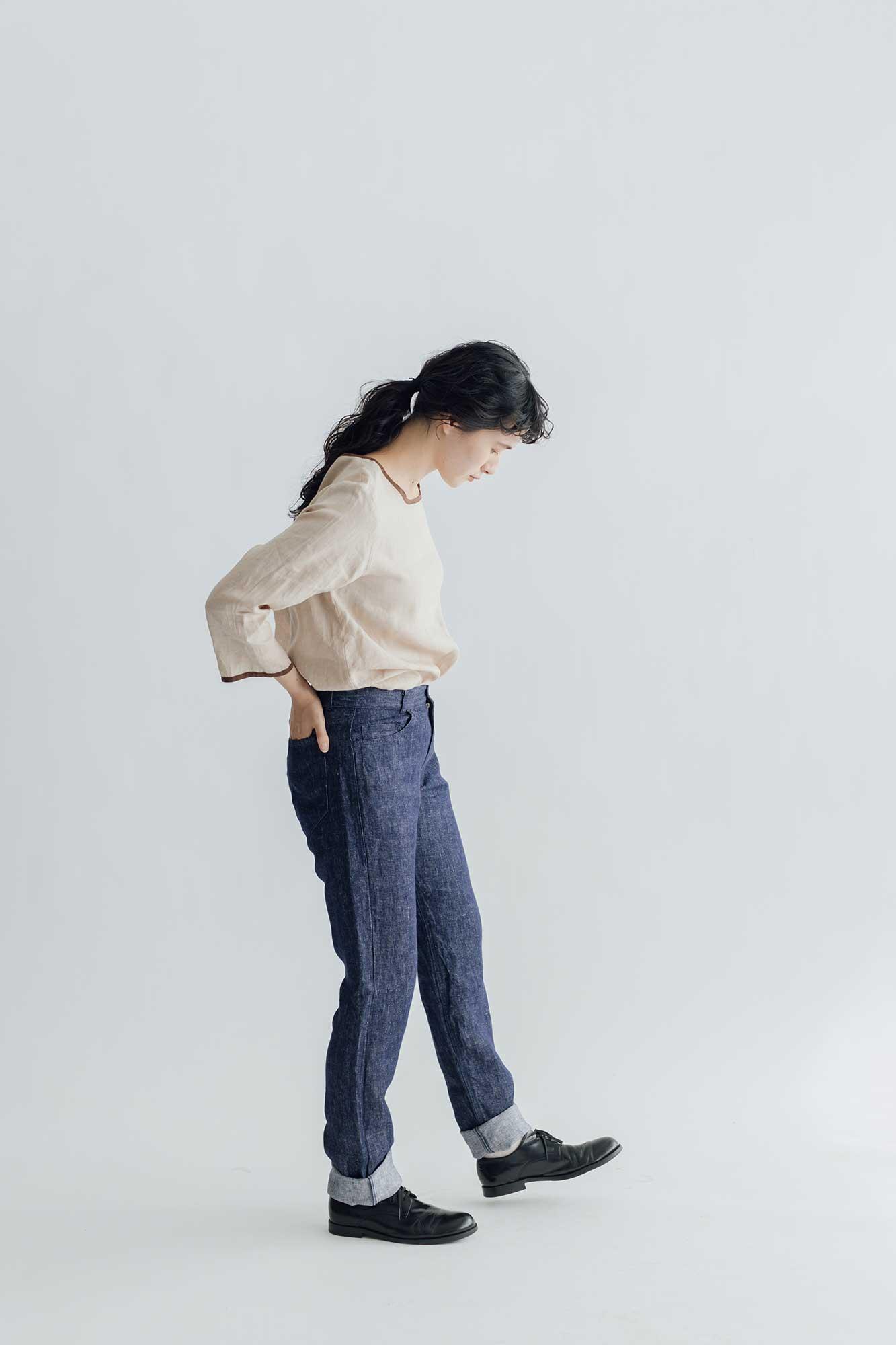 fog linen work アトリエ デ二ム パンツ ネイビー