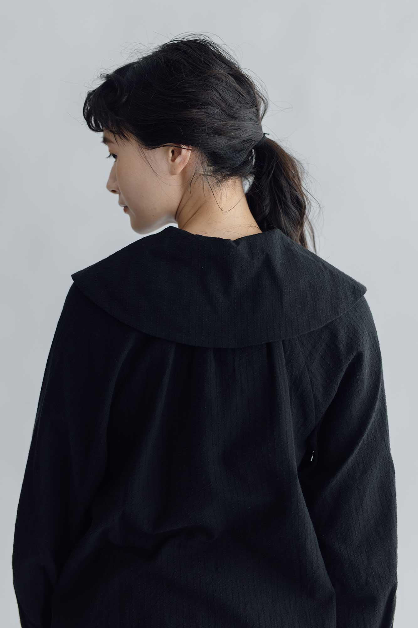 MAGALI コットンリネン ストライプ アンティーク襟ブラウス