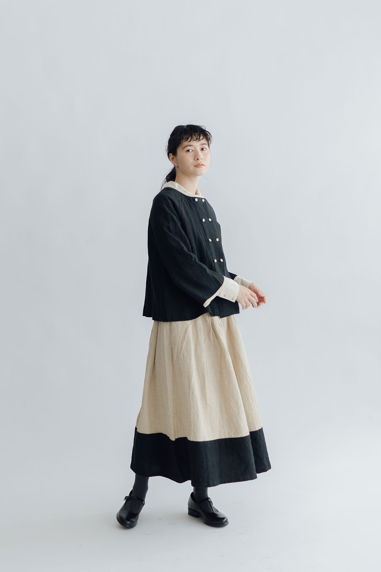 MAGALI トリプルウォッシュリネン バイカラースカート