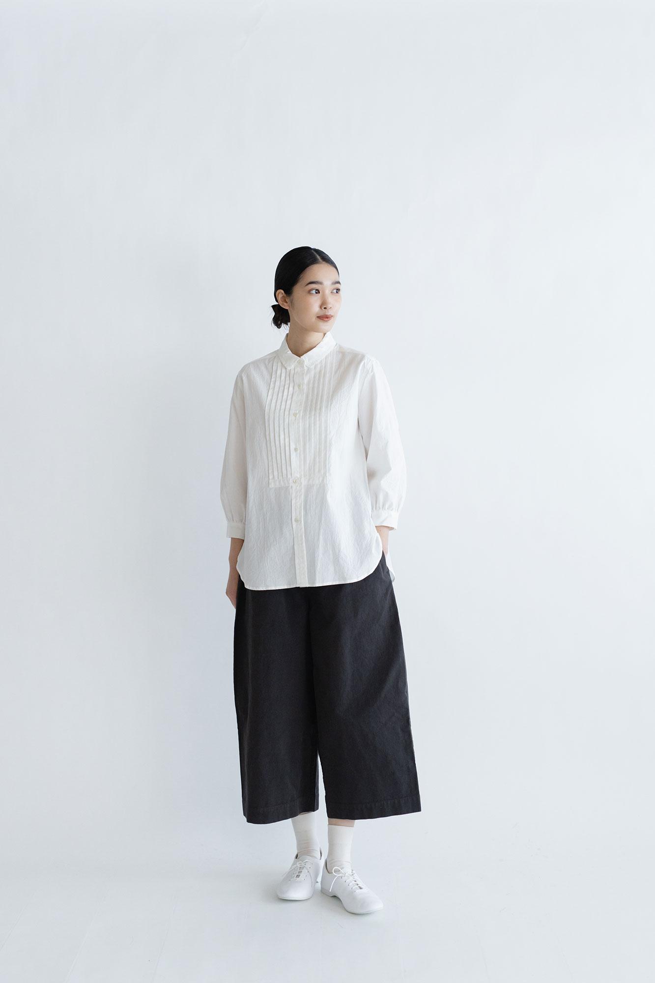 """HAU ピンタックシャツ """"cotton chambray"""" ホワイト"""