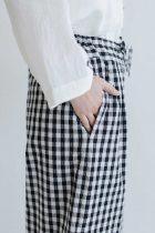 Atelier d'antan Barouh コットン パンツ ブラック×ホワイトチェック
