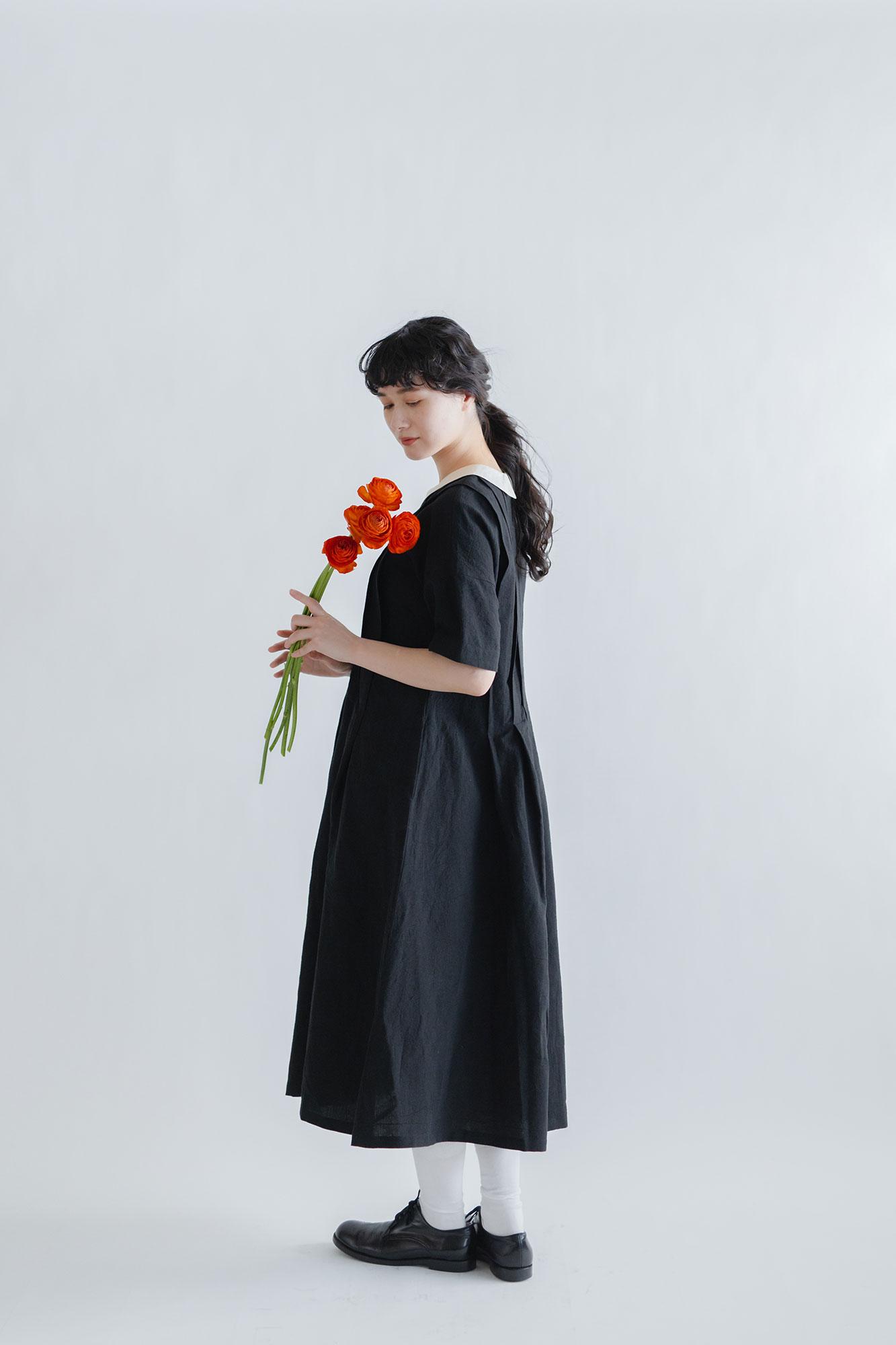 MAGALI アイリッシュリネン&コットン タックワンピース