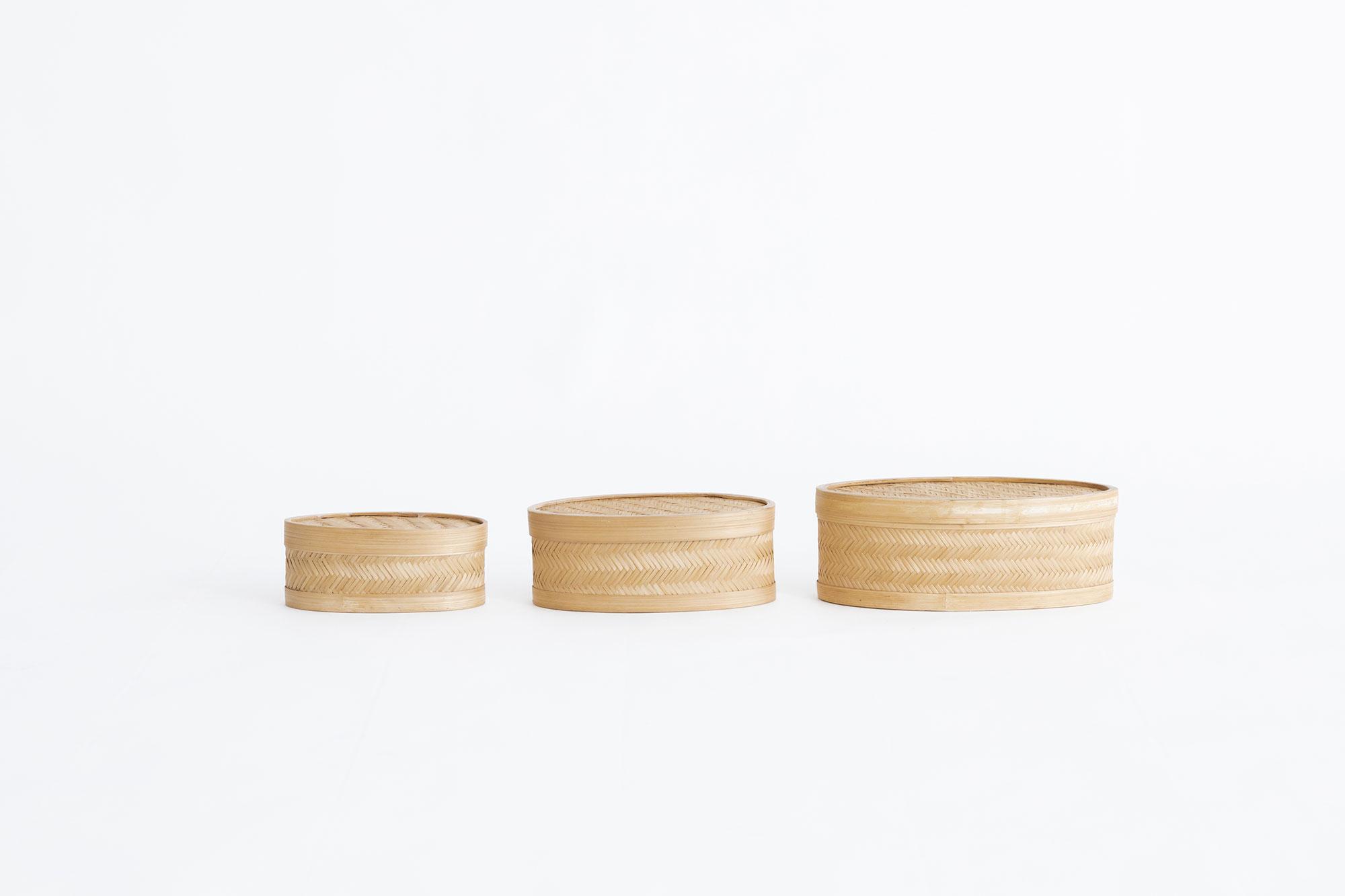 蓋つきオーバルかご 3size set
