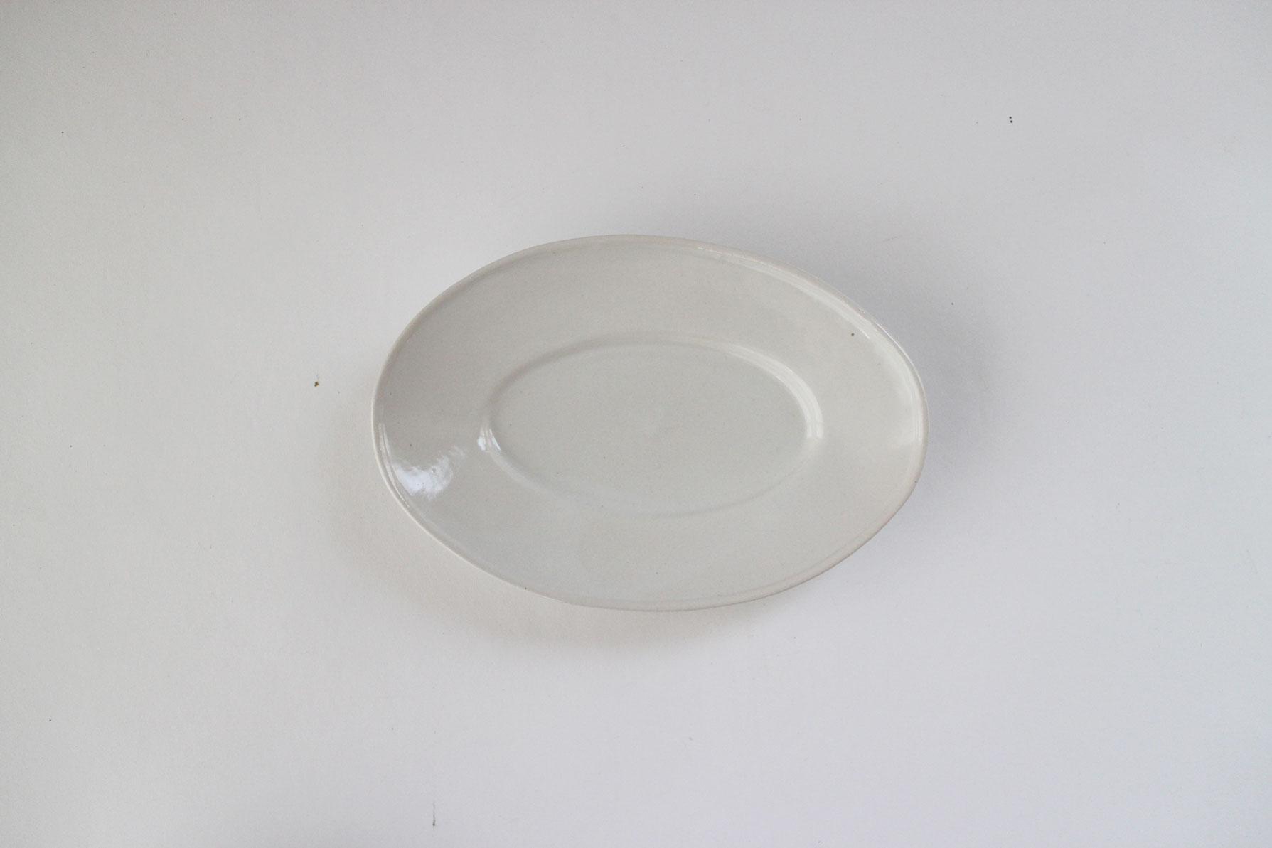河合竜彦 青白 玉縁オーバルリム皿(S)