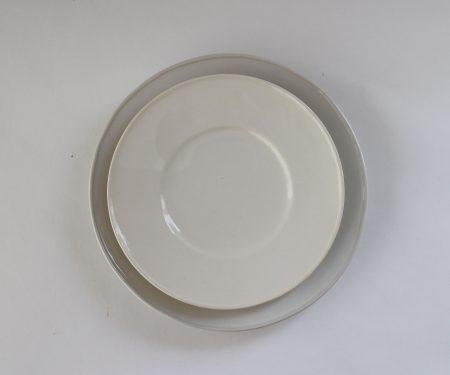 河合竜彦 白ツヤ釉 玉縁リム皿