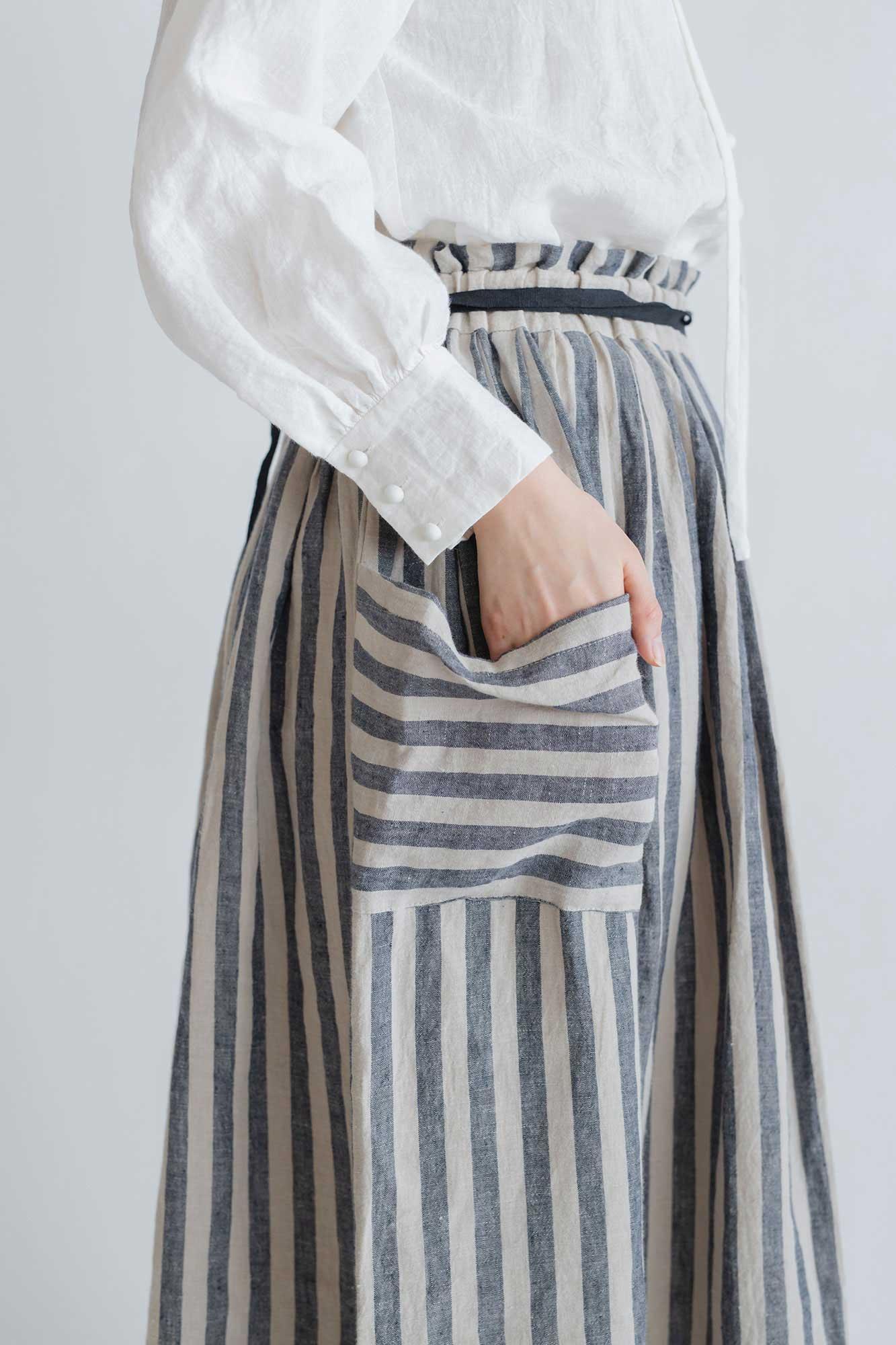 MAGALI ストライプリネン ファーマースカート