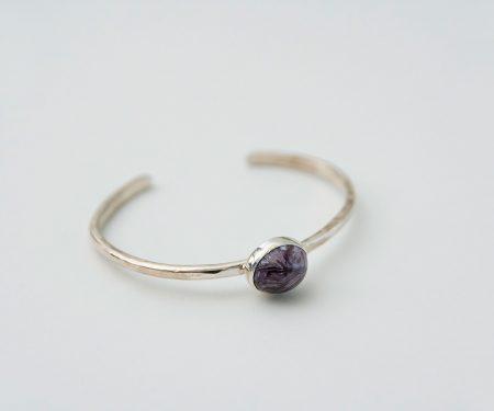 accessories mau 石 シルバーバングル チャロワイト