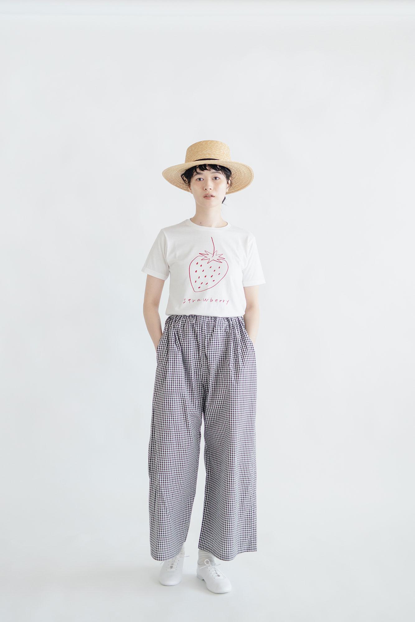 pot and tea チェック柄シンプルワイドパンツ(M)