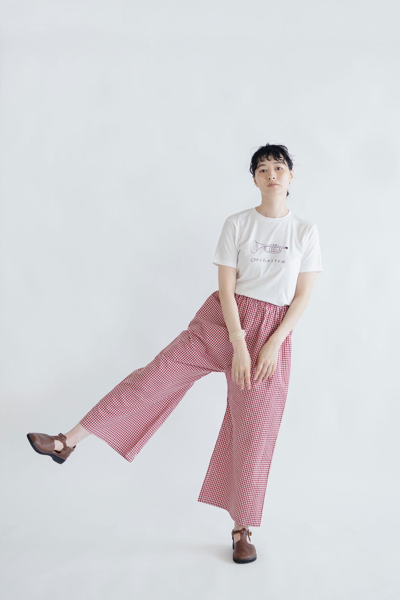 pot and tea トランペットTシャツ 黒(M)